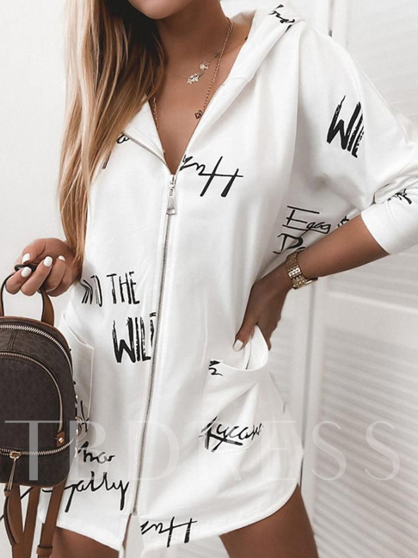 Hooded Mid-Length Zipper Print Casual Women's Trench Coat