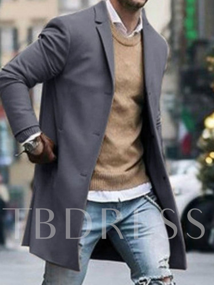 Plain Notched Lapel Mid-Length Single-Breasted Men's Coat