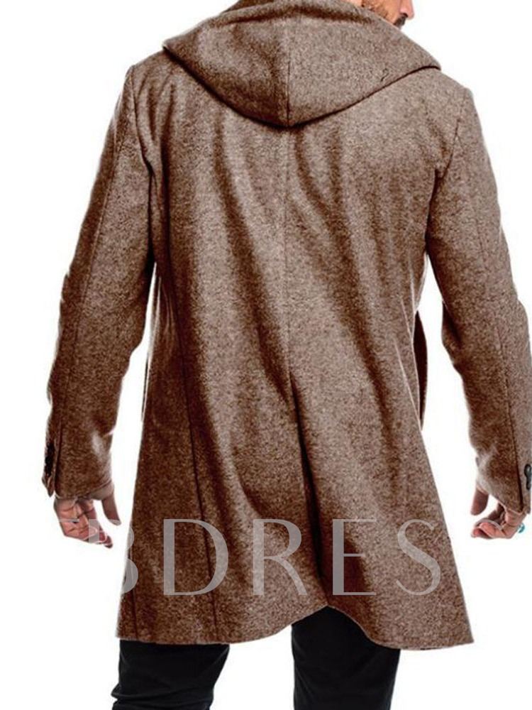 Mid-Length Hooded Plain Double-Breasted Men's Coat