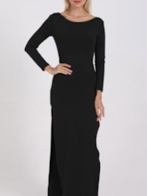 Floor-Length Round Neck Long Sleeve Split Sexy Women's Dress