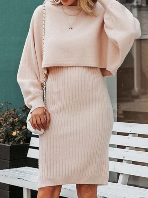 Sweater Plain Sweet Bodycon Women's Two Piece Sets