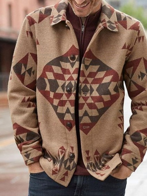 Lapel Geometric Spring Men's Jacket