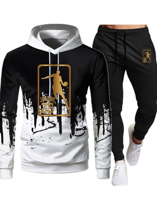 Print Hoodie Casual Number Winter Men's Outfit