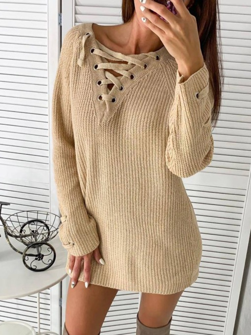 Long Sleeve Lace-Up Above Knee Spring Women's Dress