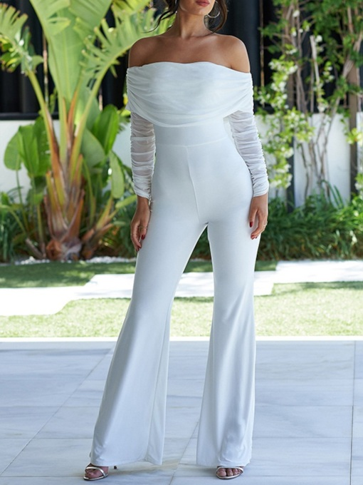 Sexy Full Length Pleated Plain Bellbottoms Women's Jumpsuit