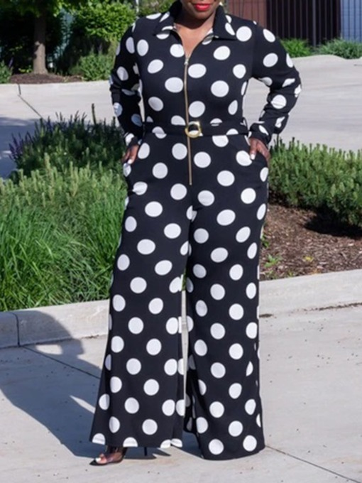 Full Length Polka Dots Print Fashion Wide Legs Women's Jumpsuit