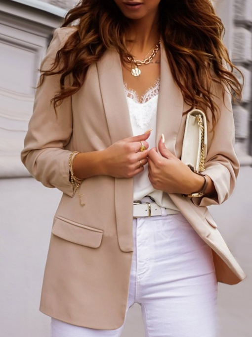 Plain Wrapped Long Sleeve Notched Lapel Mid-Length Women's Casual Blazer