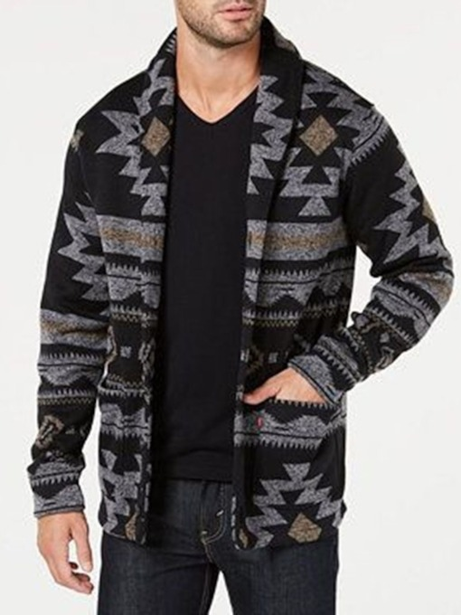 Standard Pocket Geometric Lapel Fall Men's Sweater