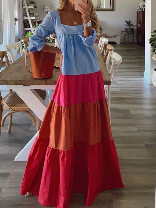 Long Sleeve Square Neck Floor-Length Pleated Color Block Women's Dress