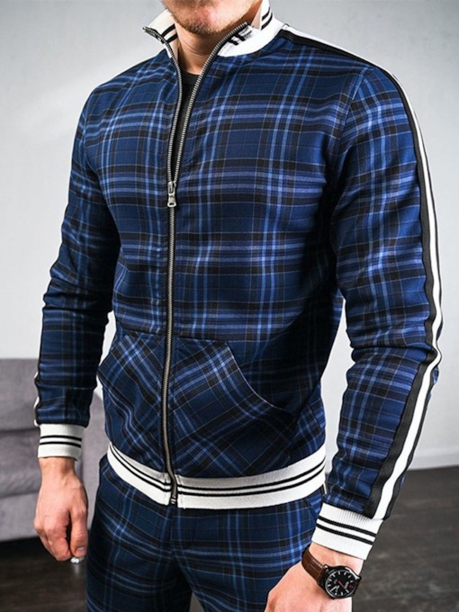 Patchwork Pants European Plaid Fall Men's Outfit