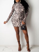Above Knee Stand Collar Print Long Sleeve Zebra-Stripe Women's Dress