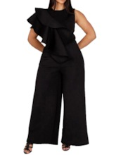 Plain Full Length Sexy Falbala Loose Women's Jumpsuit