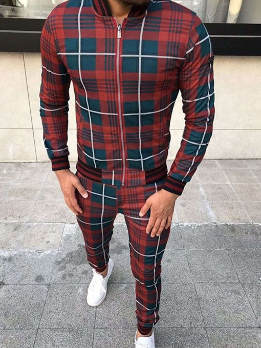 Jacket European Plaid Patchwork Spring Men's Outfit