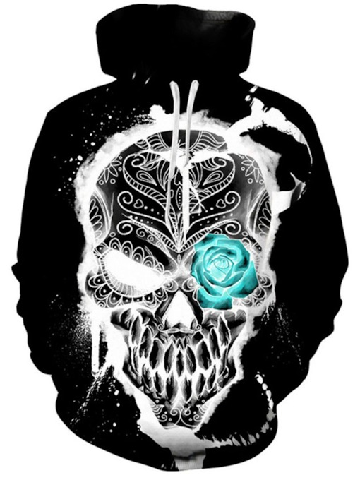 Skull Pullover Print Fall Men's Hoodies
