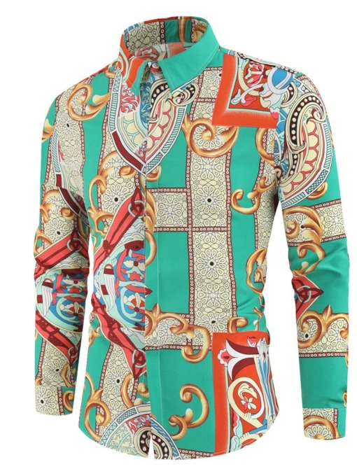 Lapel Print Korean Floral Single-Breasted Men's Shirt
