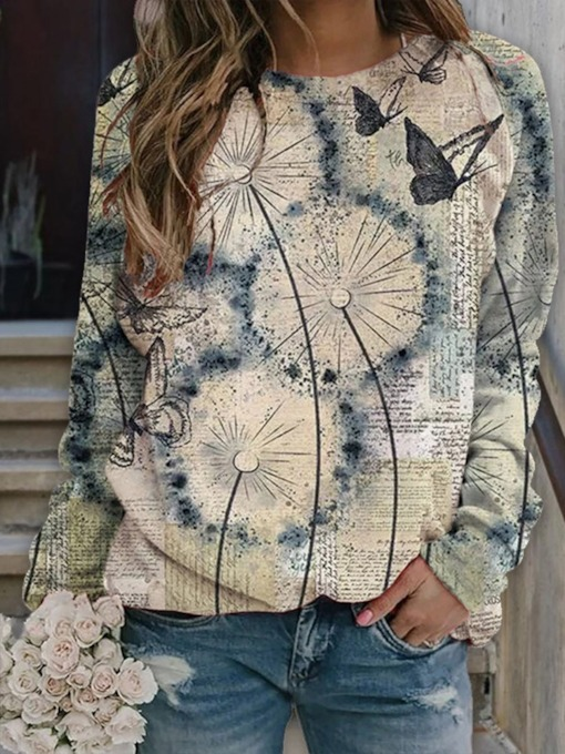 Round Neck Standard Floral Long Sleeve Loose Women's T-Shirt