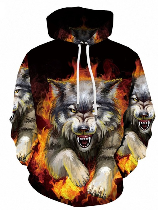 Animal Pullover Print Spring Men's Hoodies