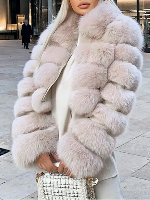 Lapel Plain Short Slim Women's Faux Fur Overcoat