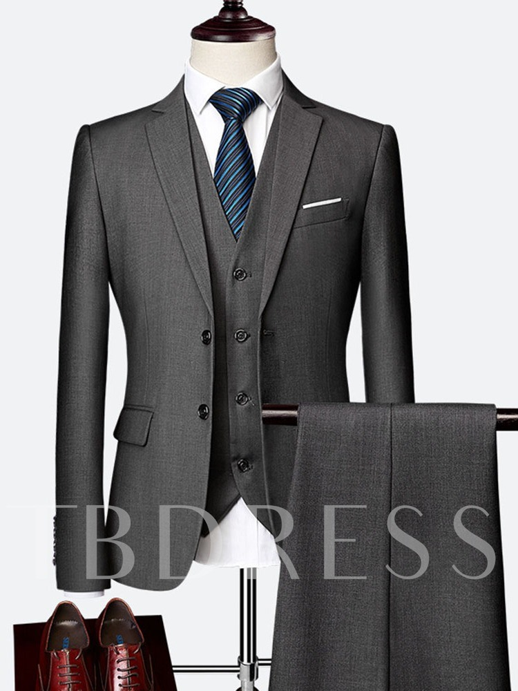 Formal Plain Pants Single-Breasted Men's Dress Suit