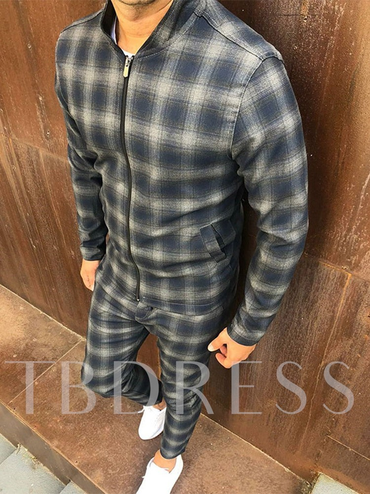 Plaid European Jacket Fall Men's Outfit
