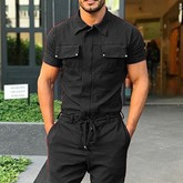 Lace-Up Full Length Plain Casual Men's Jumpsuits/Overalls