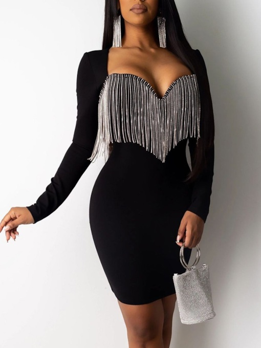 Tassel Long Sleeve Above Knee Sexy Women's Dress