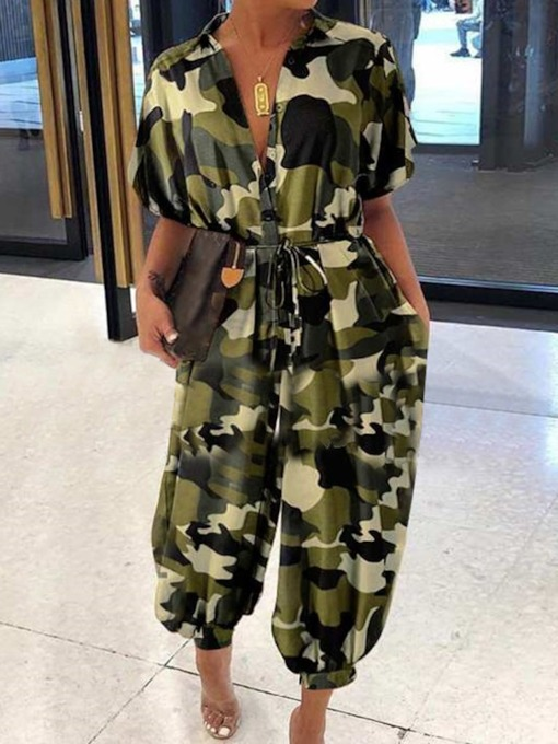 Camouflage Pocket Ankle Length Casual Loose Women's Jumpsuit