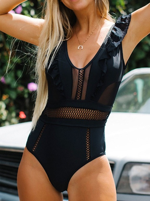 Sexy One Piece Plain Hollow Maroths Women's Swimwear