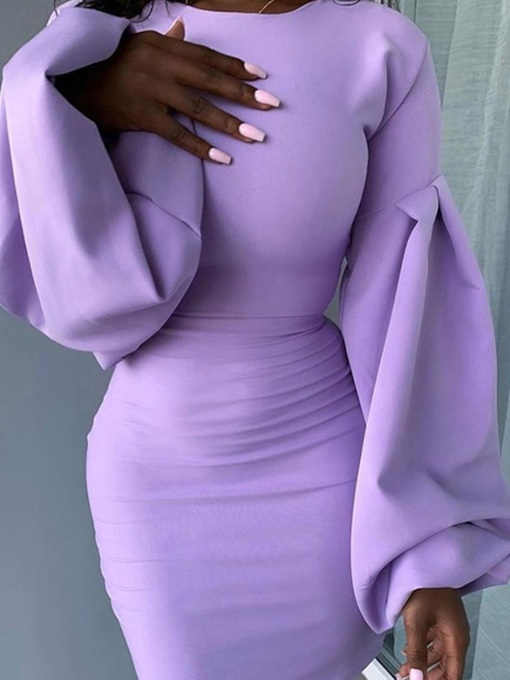 Above Knee Pleated Long Sleeve Round Neck Plain Women's Dress