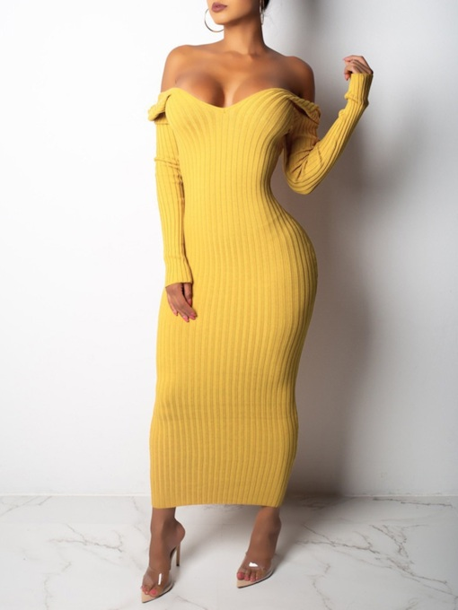 Long Sleeve Ankle-Length V-Neck Pencil Women's Dress