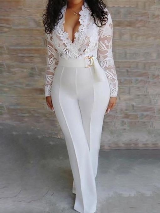 Lace Full Length Sexy Plain Slim Women's Jumpsuit