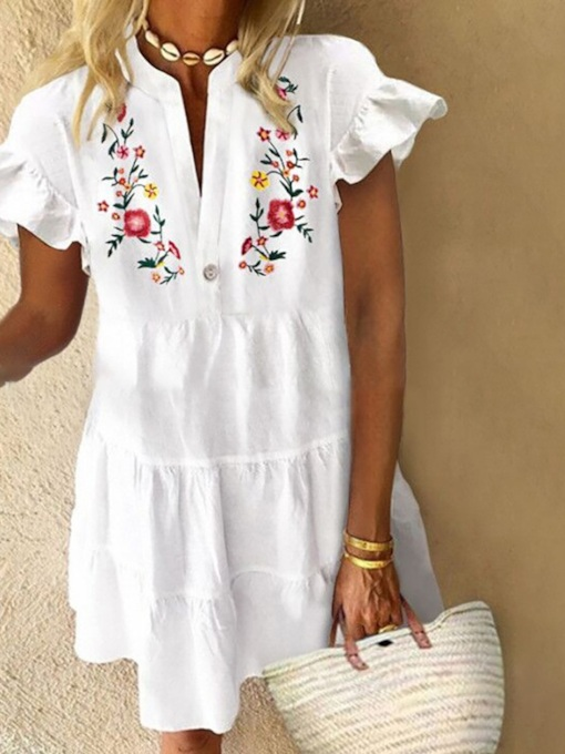 Knee-Length Print Short Sleeve Floral Women's Dress