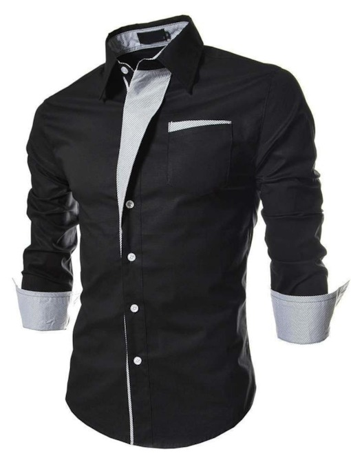 Lapel Patchwork Casual Color Block Single-Breasted Men's Shirt