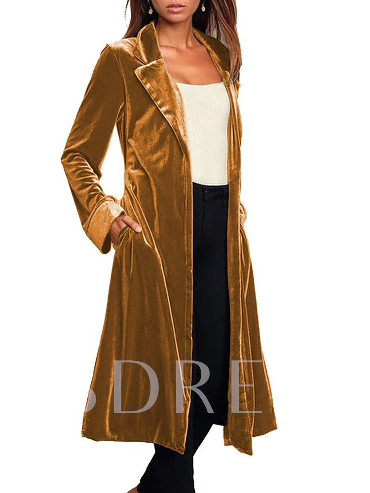 Lapel Long Patchwork Casual Women's Trench Coat