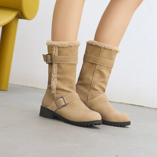 Plain Hasp Round Toe Block Heel Casual Boots
