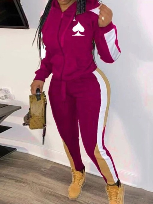 Sports Jacket Zipper Color Block Hooded Women's Two Piece Sets