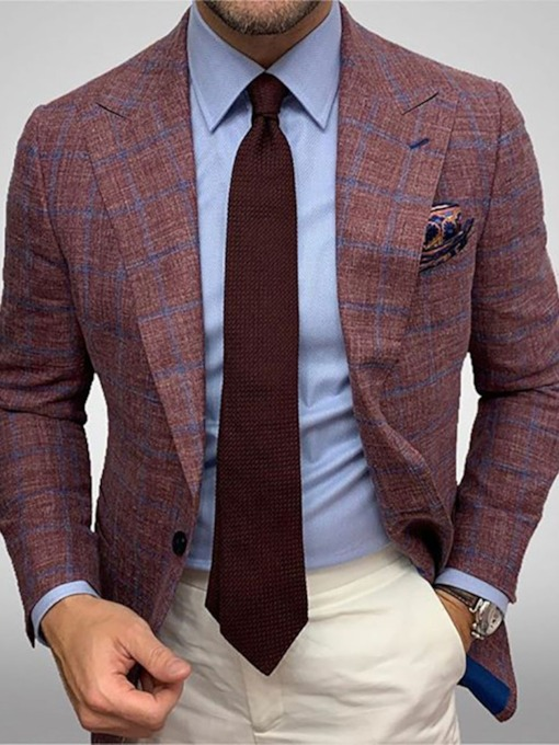 Slim Notched Lapel Plaid One Button Men's Blazer