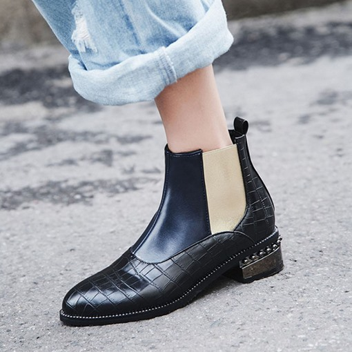 Round Toe Block Heel Color Block Side Zipper Western Boots