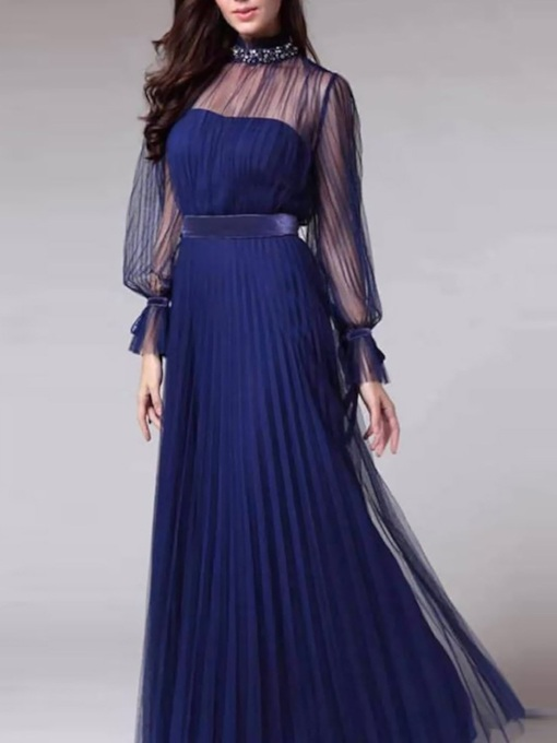 Mesh Stand Collar Floor-Length Long Sleeve Pullover Women's Dress