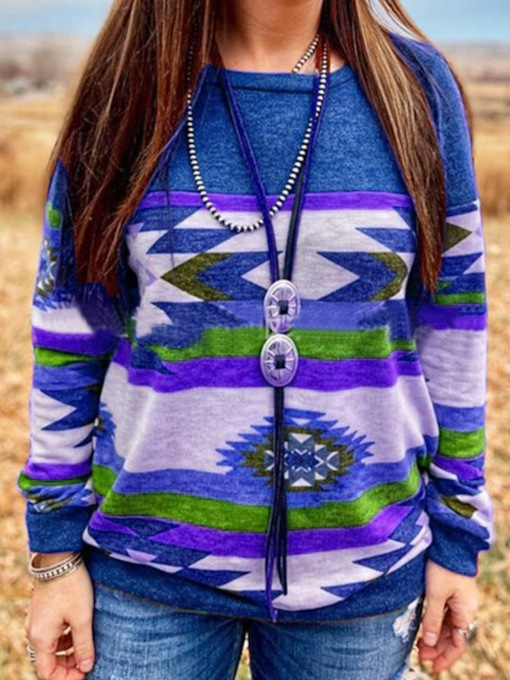 Color Block Regular Print Fall Women's Hoodie