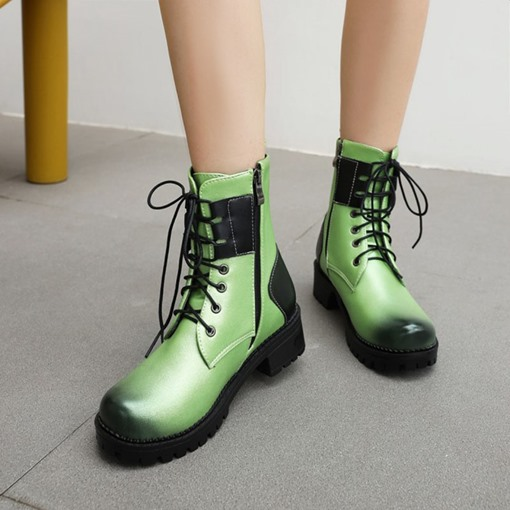 Patchwork Side Zipper Block Heel Round Toe Cotton Boots