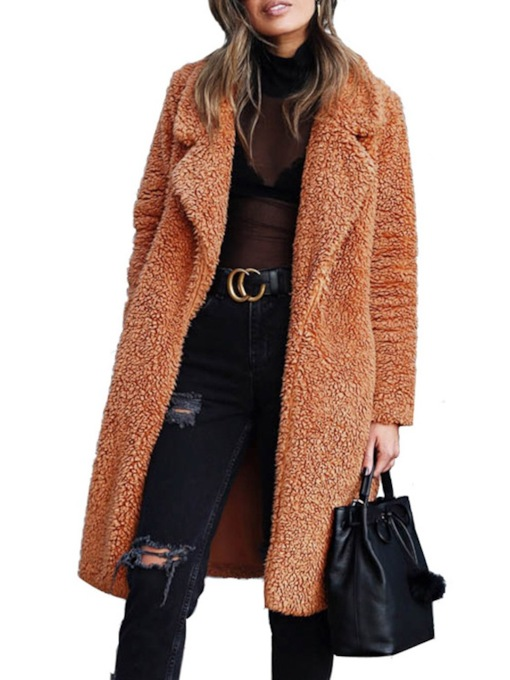 Plain Long Lapel Straight Women's Faux Fur Overcoat