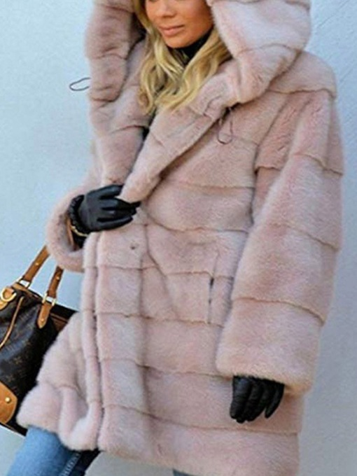 Mid-Length Hooded Plain Slim Women's Faux Fur Overcoat