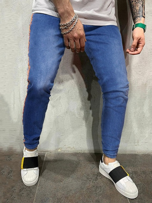 Color Block Pencil Pants Patchwork Mid Waist Men's Jeans