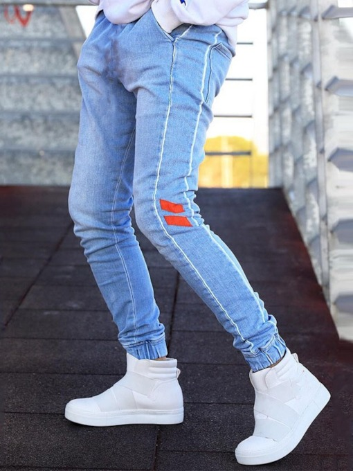 Color Block Patchwork Pencil Pants Casual Men's Jeans