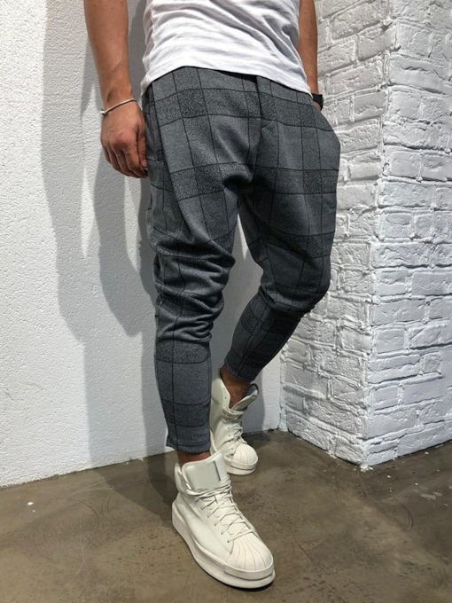 Pencil Pants Plaid Casual Men's Casual Pants