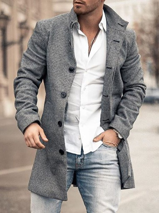 Plain Lapel Button Mid-Length OL Men's Coat