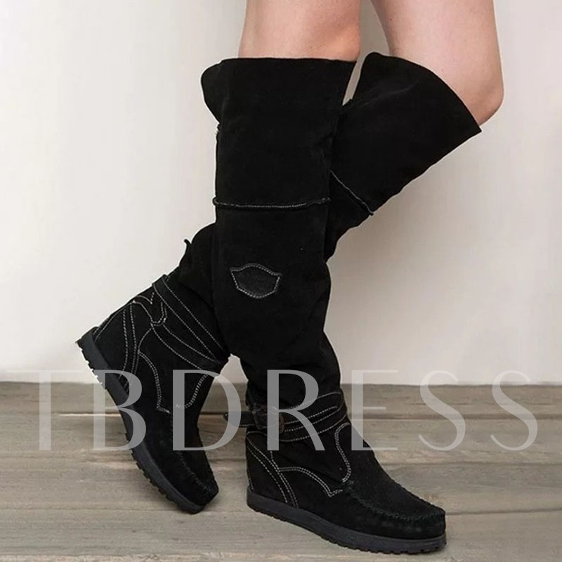 Color Block Side Zipper Round Toe Hidden Elevator Heel Buckle Boots