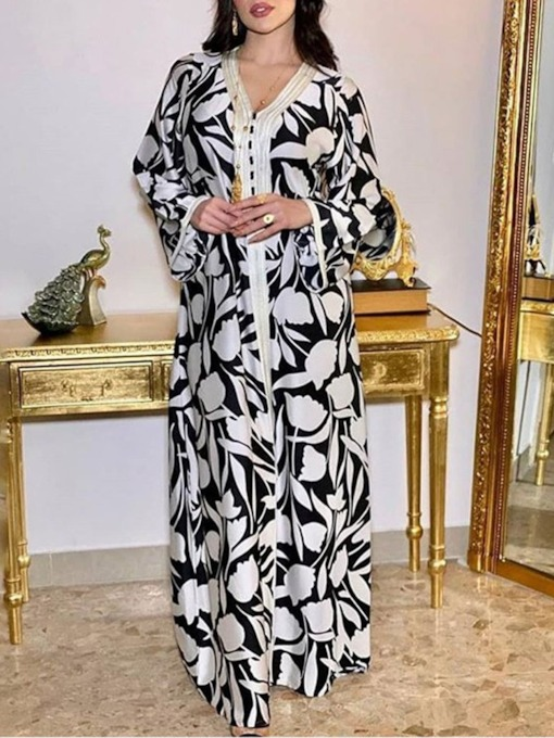 V-Neck Print Long Sleeve Floor-Length All-Season Women's Dress
