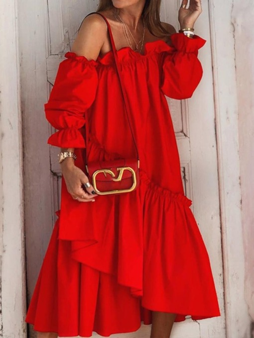 Mid-Calf Stringy Selvedge Long Sleeve Off Shoulder Asymmetrical Women's Dress